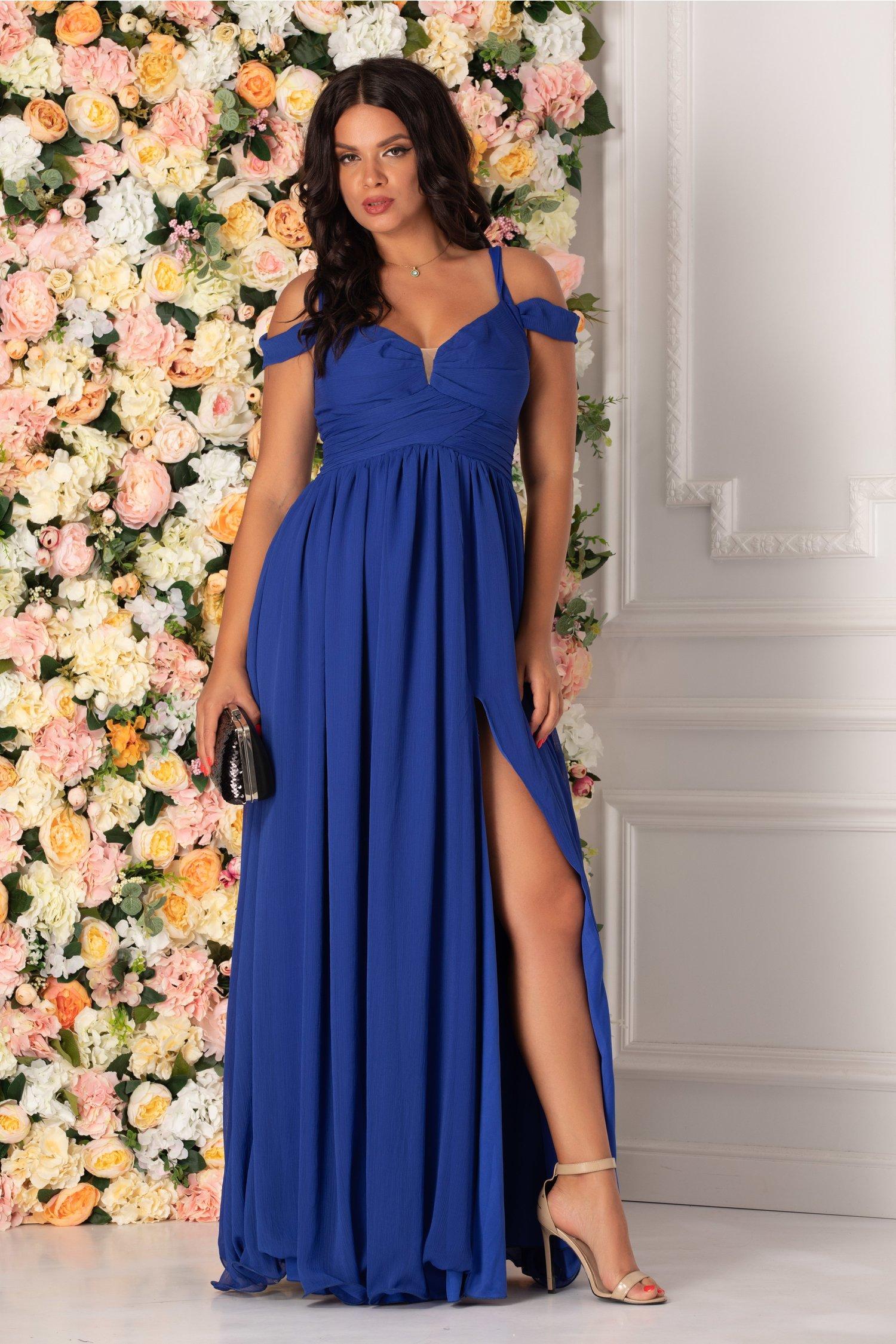 Rochie albastra Iris lunga cu umerii cazuti
