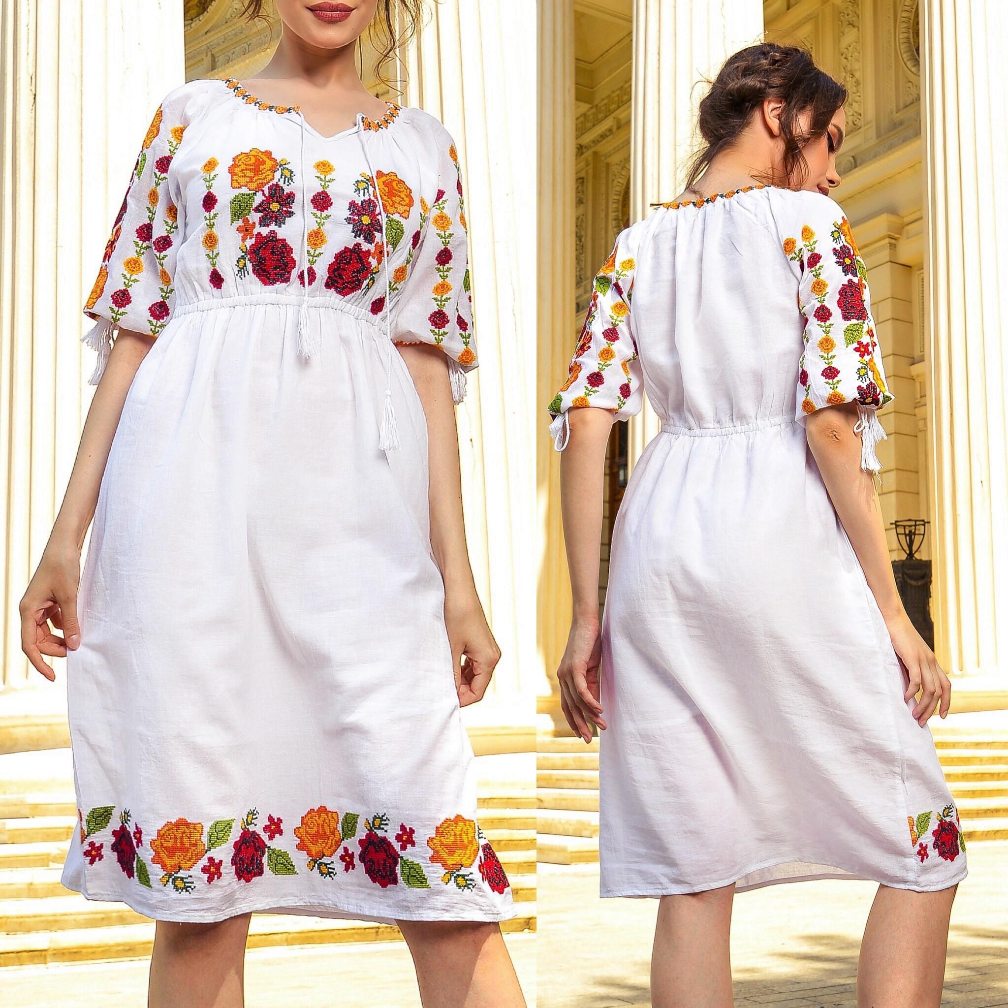 preț mai mic cu coduri promoționale produse noi calde Rochie Traditionala alba cu flori brodate - Daria - Stylishcircle.ro