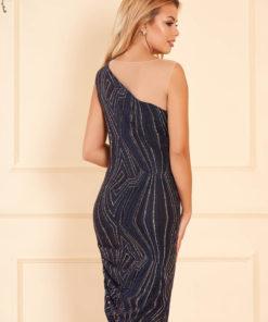 Rochie albastru-inchis de ocazie midi cu un croi mulat din material elastic cu aplicatii cu sclipici
