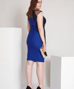 Rochie dreapta Plus Size albastru Fevronia