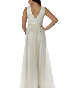 Rochie lunga din tull Alisa alb ivoire