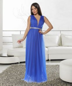 Rochie lunga din tull Alisa albastru electric