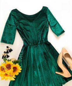 Rochie ocazie scurta cloche din catifea verde cu maneci trei sferturi si sclipici