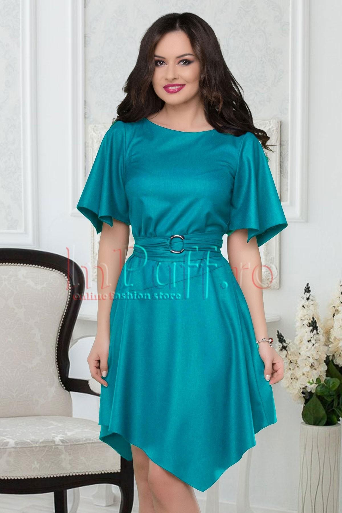 Rochie asimetrica albastru turquoise cu cordon in talie