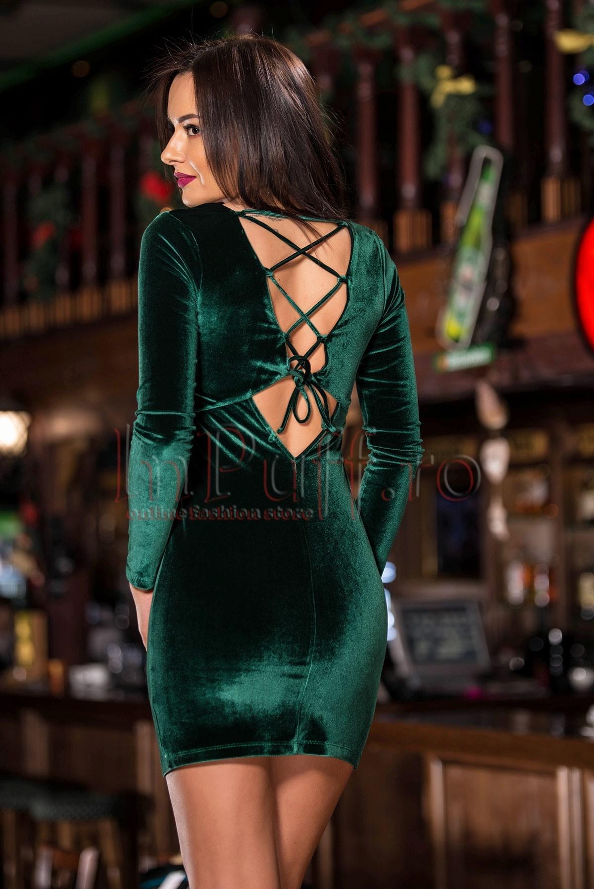 Rochie de ocazie verde cu snur pe spate