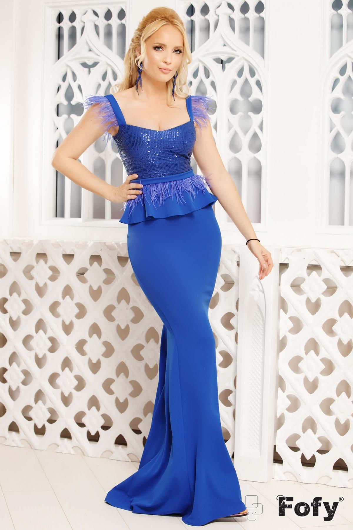 Rochie de seara albastra Fofy lunga cu paiete si fulgi