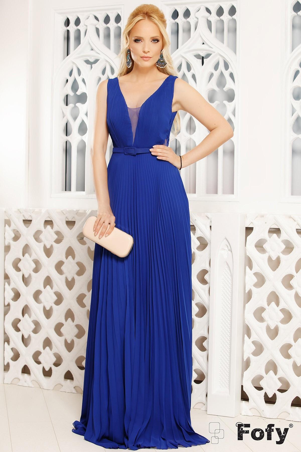 Rochie de seara lunga din voal plisat albastra Fofy