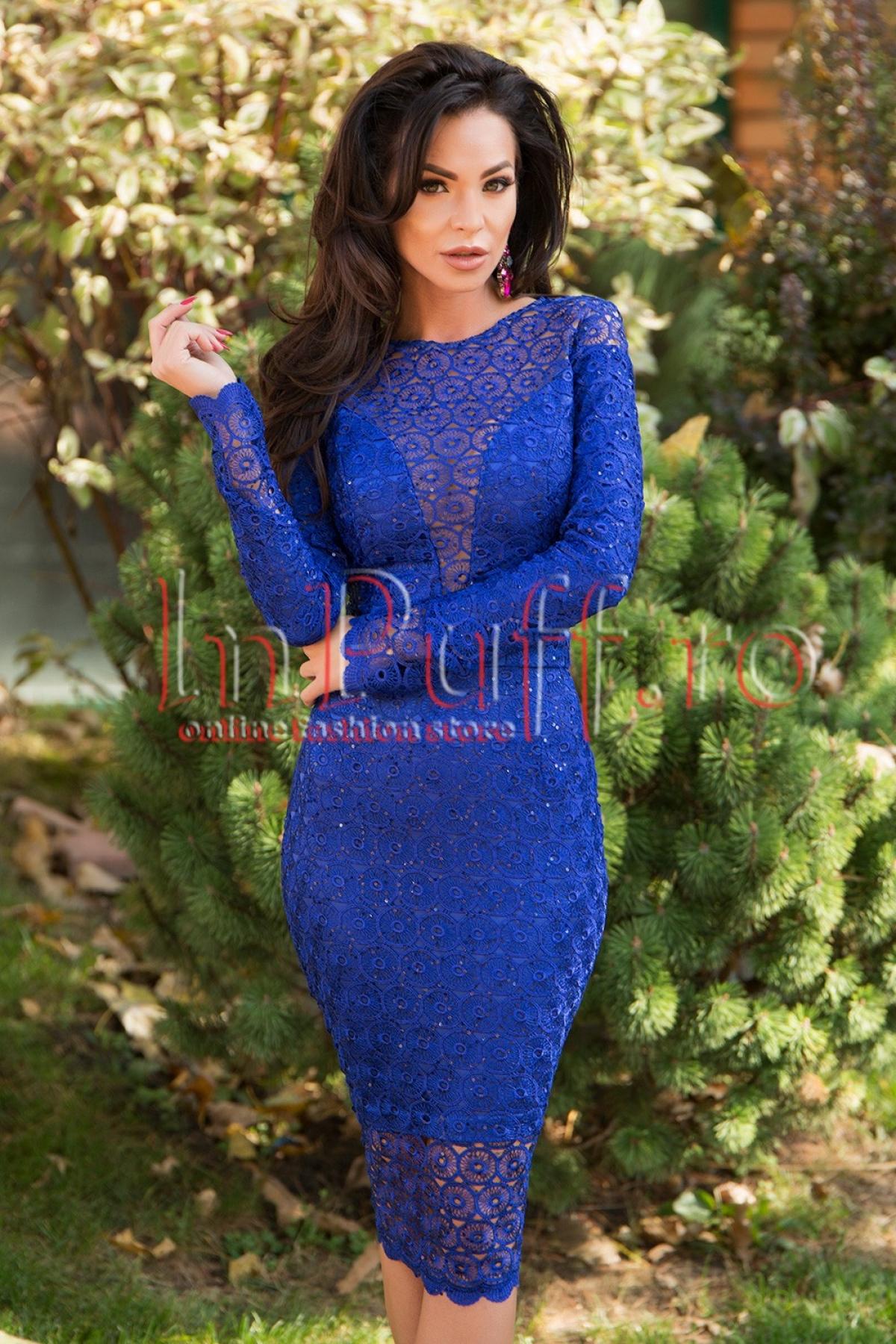 Rochie midi albastra din dantela