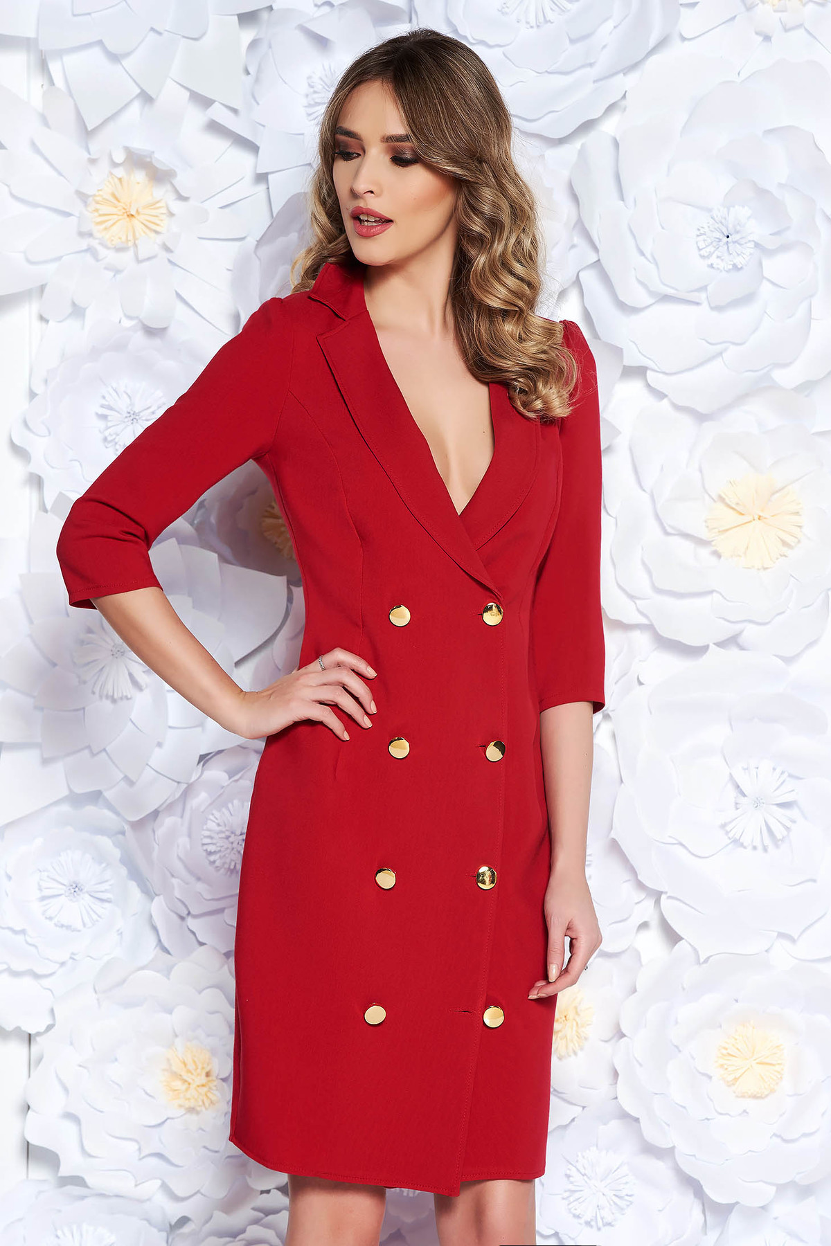 Rochie Artista rosie eleganta petrecuta tip sacou din stofa usor elastica accesorizata cu nasturi