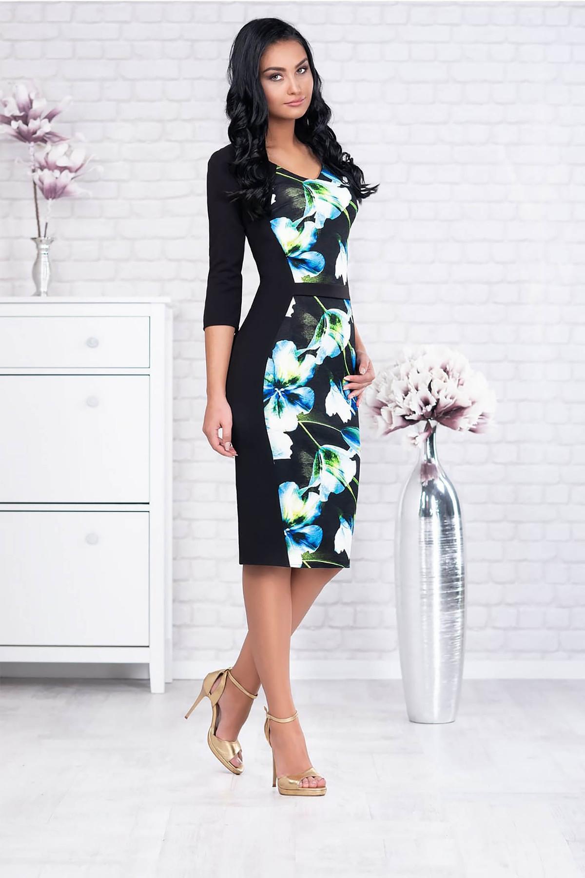 Rochie albastra office midi din stofa cu maneci trei-sferturi si accesoriu tip curea