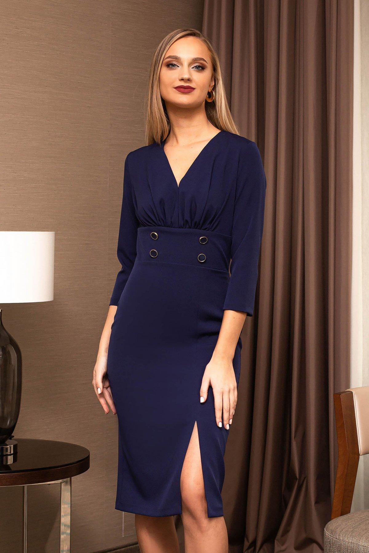 Rochie albastru-inchis PrettyGirl eleganta accesorizata cu nasturi cu maneca 3/4