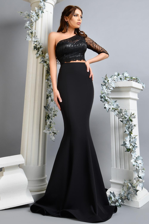 Compleu elegant negru bustiera si fusta C 069