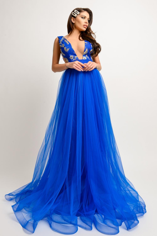 Rochie lunga eleganta din tul albastru si dantela bust Rn 1700al