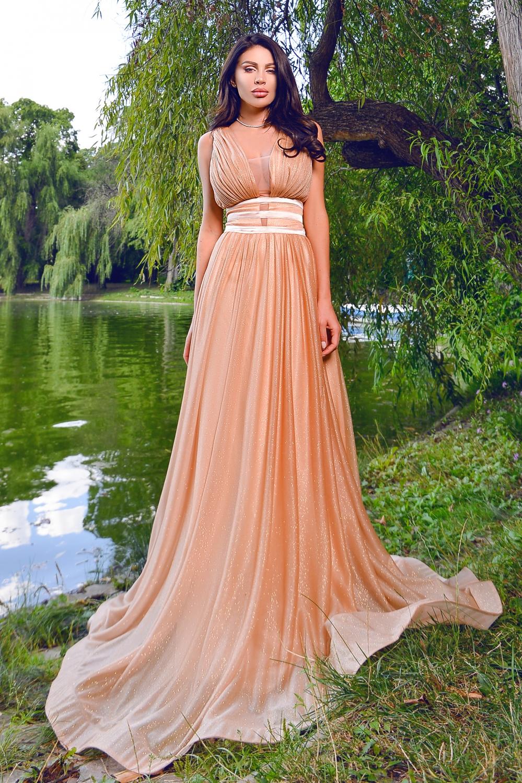 Rochie lunga eleganta din tul bej cu fir lame Rn 2483