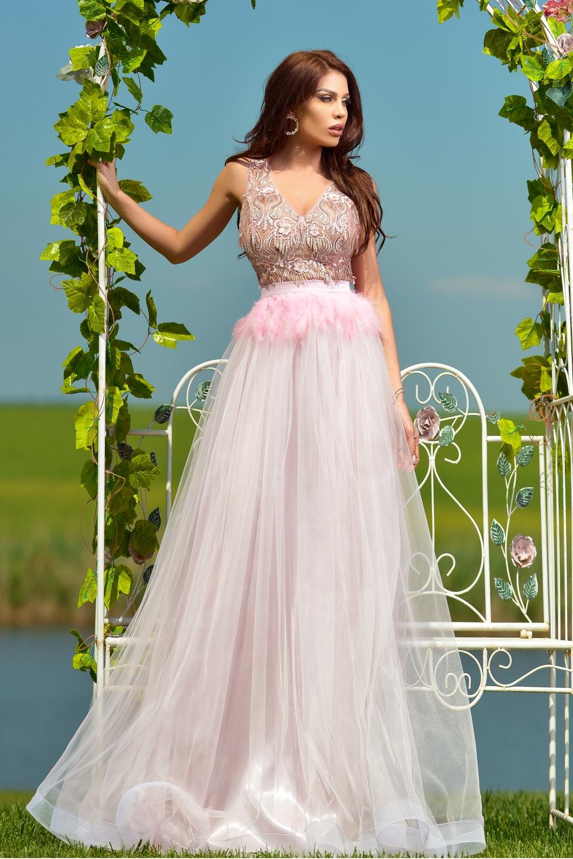 Rochie lunga rose cu pene in talie Rn 2389