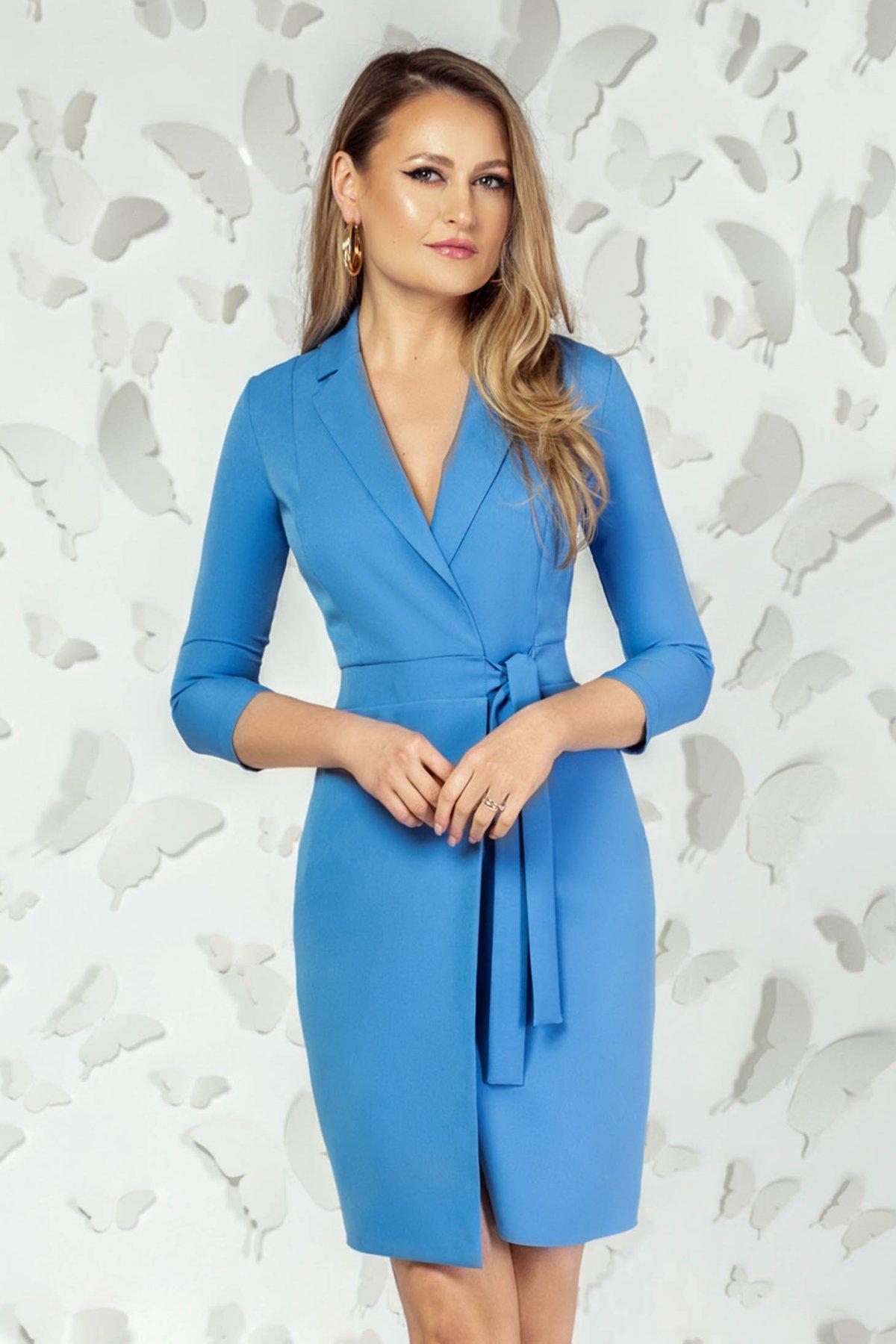 Rochie PrettyGirl albastra eleganta scurta tip creion cu decolteu in v si maneci trei-sferturi