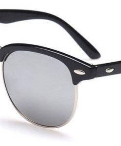 Ochelari de soare Clubmaster Retro Gri Oglinda cu Argintiu