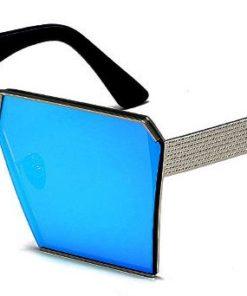 Ochelari de soare Rectangular Plat Oglinda Albastru cu Argintiu