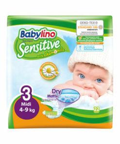 Scutece Babylino Sensitive 3 Midi, 4-9 kg, 22 buc.