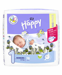 Scutece Happy Newborn scutece, 2-5 kg, 78 buc