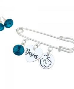 Set Brosa personalizata cu pandantive argint si Cercei cristale Swarovski Nume Simbol