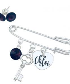 Set Brosa personalizata pandantiv argint cristal charm Cercei Swarovski Heart Key