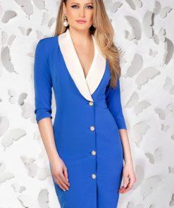 Rochie Pretty Girl office albastra cu guler tip sal
