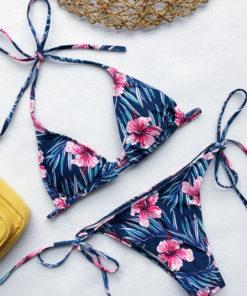 Costum De Baie Floral Brittanie Albastru Inchis