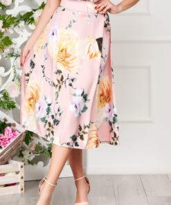 Fusta SunShine roz deschis eleganta midi in clos cu imprimeu floral