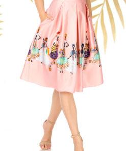 Fusta PrettyGirl roz prafuit eleganta in clos cu talie inalta din stofa neelastica subtire cu imprimeuri grafice