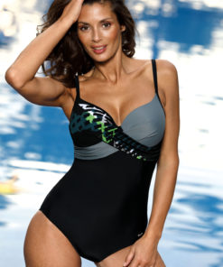 Costum de baie negru intreg cu efect push-up cu decolteu adanc