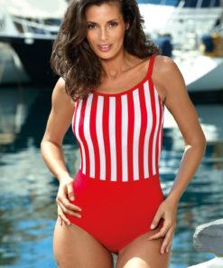 Costum de baie rosu intreg cu decolteu rotunjit cu bretele ajustabile din material elastic