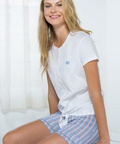 Set haine de casa, alb-albastru