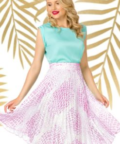Fusta Pretty Girl plisata cu imprimeu roz tip sarpe