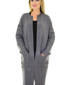 Cardigan Knitted Sleeves Grey