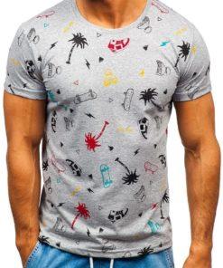 Tricou cu imprimeu bărbați gri Bolf 1150-A