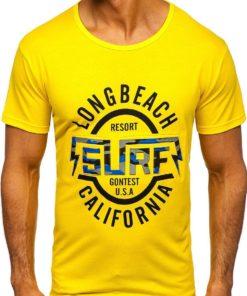 Tricou cu imprimeu bărbați galben Bolf KS2031