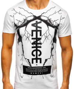 Tricou alb cu imprimeu Bolf 10872