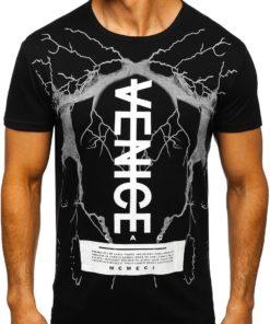 Tricou negru cu imprimeu Bolf 10872
