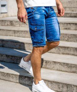 Pantaloni scurți de blugi cargo bleumarin Bolf KR1076