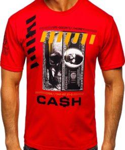 Tricou rosu cu imprimeu bărbati Bolf 14315