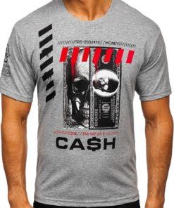 Tricou gri cu imprimeu bărbati Bolf 14315