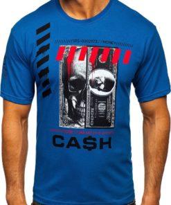 Tricou albastru cu imprimeu bărbati Bolf 14315