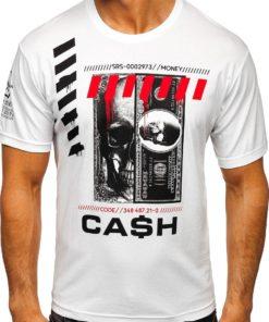 Tricou alb cu imprimeu bărbati Bolf 14315