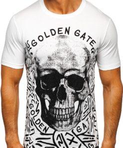 Tricou alb cu imprimeu bărbati Bolf 14332