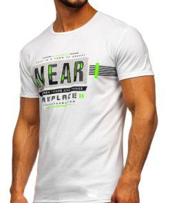 Tricou cu imprimeu alb bărbați Bolf SS11066