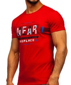 Tricou cu imprimeu rosu bărbați Bolf SS11066