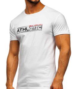 Tricou cu imprimeu alb bărbați Bolf SS10951