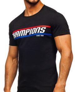 Tricou cu imprimeu negru bărbați Bolf SS10953