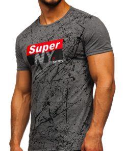 Tricou cu imprimeu gri bărbați Bolf SS11100